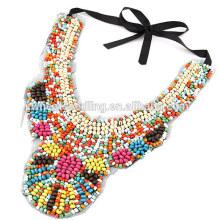 Moda jóias artesanais colorized contas de madeira étnica colar com colar de corrente preto riband