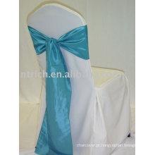 100% poliéster cadeira tampa, tampa da cadeira para hotel/banquetes visto, fitas de cetim azul