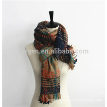 Women Fall/Winter Knitted Mixed Color long Scarf Shawl with Tassel