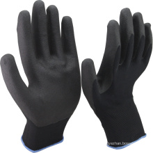 NMSAFETY 13 gauge black nylon liner coated black foam pvc on palm anti slip safety working gloves