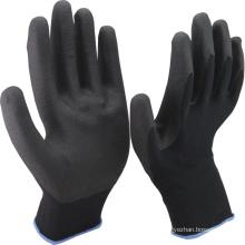 NMSAFETY 13 calibre forro de nylon preto revestido de espuma preta pvc na palma anti luvas de trabalho de segurança antiderrapante