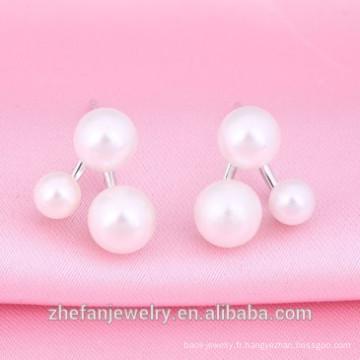 dernière conception de boucle d'oreille perle double boucle d'oreille perle imitation
