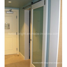 Marriott Hotel, White Painted Laminated Glass Sliding Barn Door Style for Bathroom Entry Door