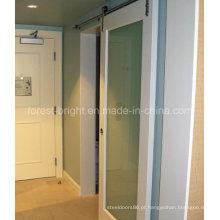 O hotel de Marriott, branco pintou o estilo da porta de celeiro do vidro laminado deslizante para a porta de entrada do banheiro