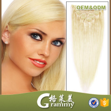 triple weft hair blond clip in hair extensions for white women