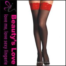 Fornecedor Amazon Meia sexy Meias de tecido de renda Sexy Lace Up Glossy Stocking