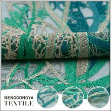 Tissu brodé fait sur commande en gros de polyester vert bon marché de dentelle