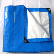 Высокое качество синий белый ПЭ брезент с черный пластиковый уголок вокруг петелек