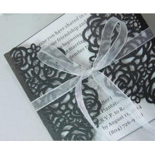 2016 White And Black Laser Cut Wedding Invitations Card For Party Supply Free Printing Hollow Ribbon Bow ML279