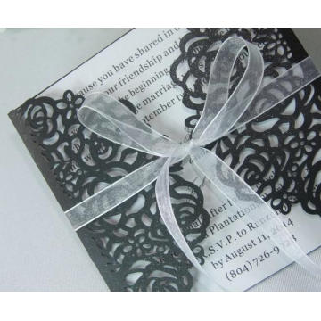 2016 White and Black Laser Cut Wedding Invitations Carte pour Party Supply Free Printing Hollow Ribbon Bow ML279