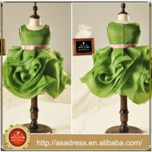 FL1006 Special Emerad Green Organza Ruffle Skirt Flower Girl Dress With Belt Belt Kids Bridesmaid Dresses