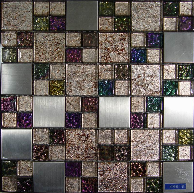 Golden Foil Crystal Glass Mosaic