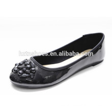 Patent pu leather black women shoes with trim flats lady casual shoe