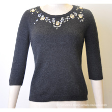 100%Lambswool Women Fit Jumper Knit Sweater with Sequins