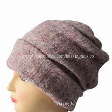 Ladies' winter wool knitting fabric long hat with twist sewing on top, many ways to wear