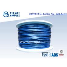 UHMWPE cuerda trenzada azul con carrete