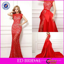 Sexy OEM Factory Lace Fabric Jewel Neck Mermaid Red Evening Dresses with Detachable Train
