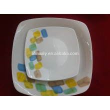 placa cerâmica de forma quadrada para alimentos, frutas, lanche