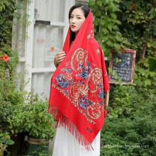 Elegant Muslim Embroidered Women Wool Scarf