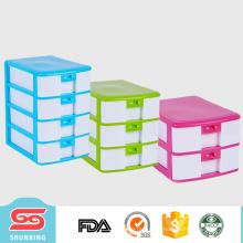 Caixa plástica pequena do armazenamento da gaveta da mesa do plástico a4 de 4 camadas for sale