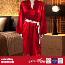 Luxury Hotel Use Solid Color Red Embroidery Silk Robe