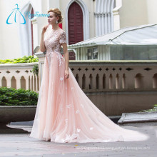 Lace Appliques Tulle Sheath Pink Wedding Dress