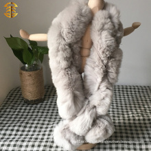 New Ladies Real Natural Rex Rabbit Fur Knitted Snood Scarf With Pom Poms