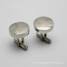 Edelstahl Silber leeres runder Hemd Manschettenknopf