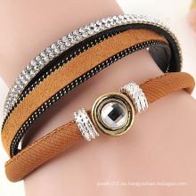 Nuevos productos calientes para 2015 moda multi capas rhinestone cuero wrap pulsera