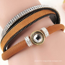 hot new products for 2015 fashion multi layers rhinestone leather wrap bracelet