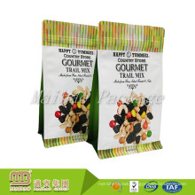 Custom Design Side Gusset Tear Notch Zipper Flat Bottom Pouch For Cashew/Nuts/Snack Packaging