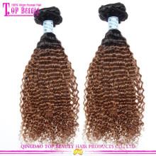 Оптовая афро кудрявый ombre волос два цвета ломбер индийские волосы ткет