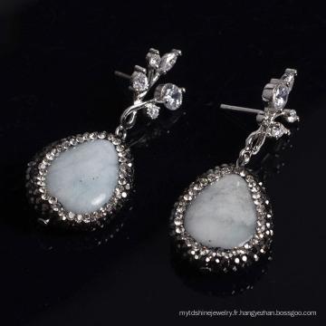 2016 Fashion Gemstone Metal Zircon Boucles d'oreilles Accessoire bijoux