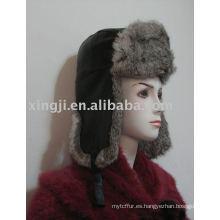 piel de conejo chinchilla color gris natural con paño en el sombrero de piel ruso superior