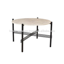 Industrial Round Marble Top and Metal Base Coffee Table
