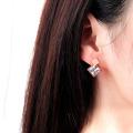 Trendy Square Shaped Stone Stud Earrings