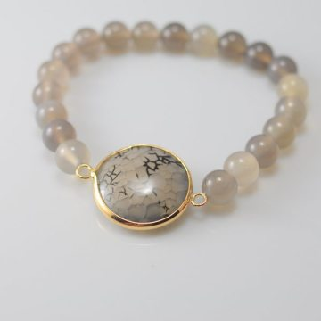 Grey Agate Bracelet with Agate Pendant Gemstone jewelry