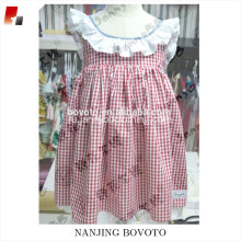 Red gingham lace dress for girl school dress