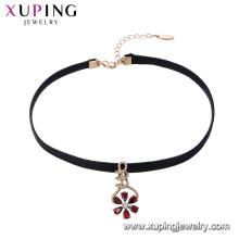 44427 elegante 18 Karat vergoldete mehrfarbige Blütenblätter geformt Leder Halsband für Mädchen