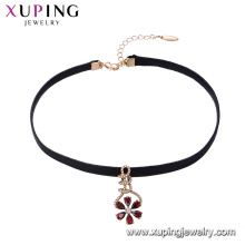 44427 elegant 18k gold plated multi-color flower petals shaped leather choker for girls