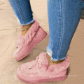 Ready to ship cheap price Stylish Design Indoor Ladies Fur Boots Bowknot  Winter Women's Fluffy Fur Shoes  size US 11