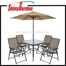 Conjunto de comedor de muebles de patio al aire libre 6 piezas con sombrilla / parasol, juego de mesa de comedor superior de vidrio, juego de mesa de comedor 4 sillas