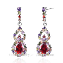 unique products 2018 wholesale rhodium plated cubic zirconia earrings