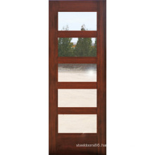 Mahogany 5 Glass Lites Composite Wood Door Design (S4-1008)