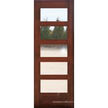 Mogno 5 Vidro Lites Composite Design Porta de madeira (S4-1008)