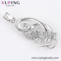 33288 luxury women jewelry sterling silver color buckle curved chandelier shape pendant