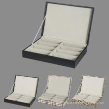 Caixas de vidro de armazenamento de exibição de couro para 8 óculos