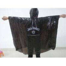 Poncho de lluvia de PE negro desechable