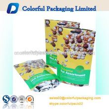 Customized hanger hole dried fruits ziplock packaging bag resealable dried fruits stand up pouch