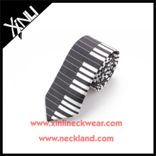 Printed Piano Silk Tie in Black and White Tie